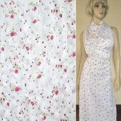 Батист белый с малиновыми цветами и блестками ш.140