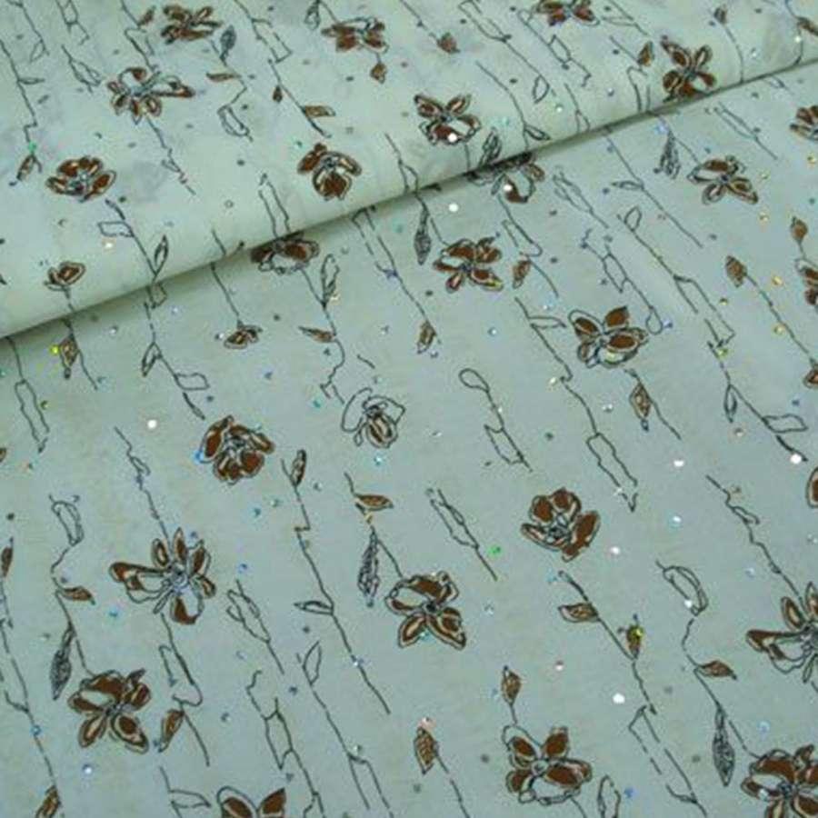 Батист белый с коричн черными цветами с блестками и жаткойш.140