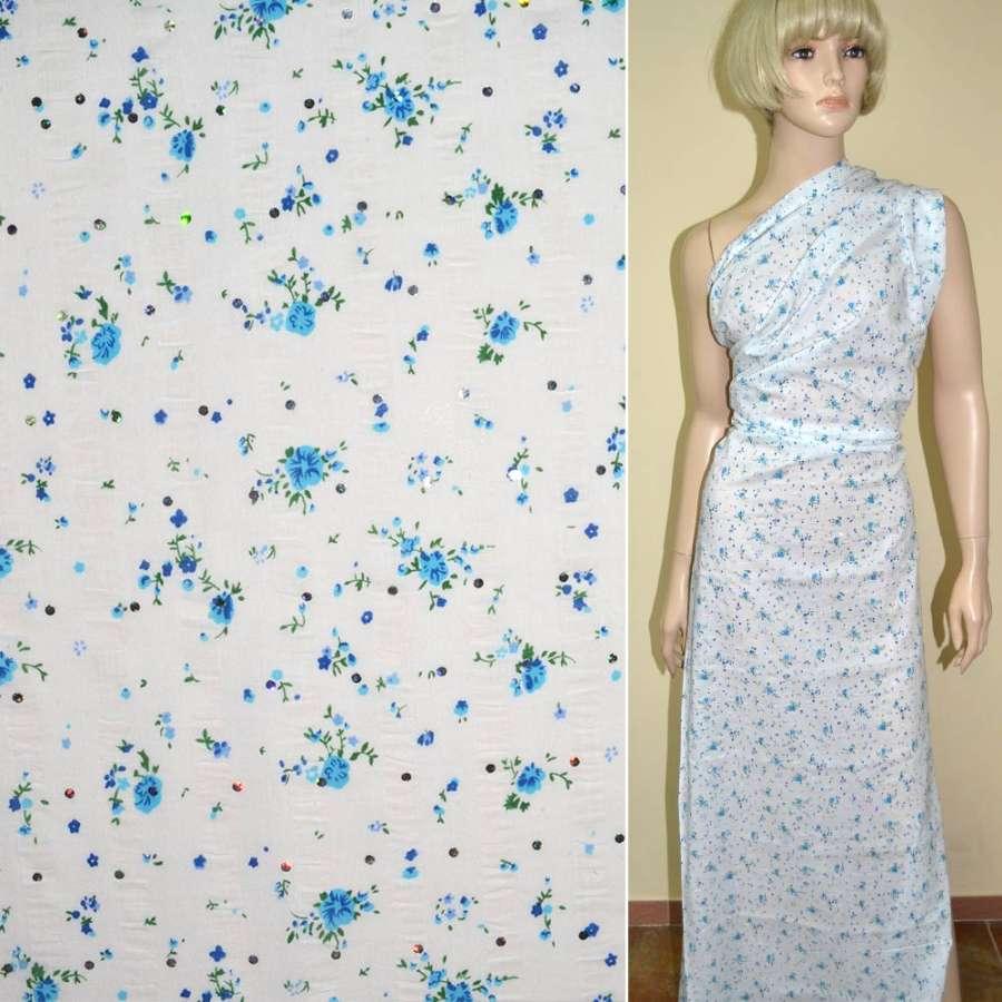 Батист белый с голубыми цветами,блеск и жаткой ш.140