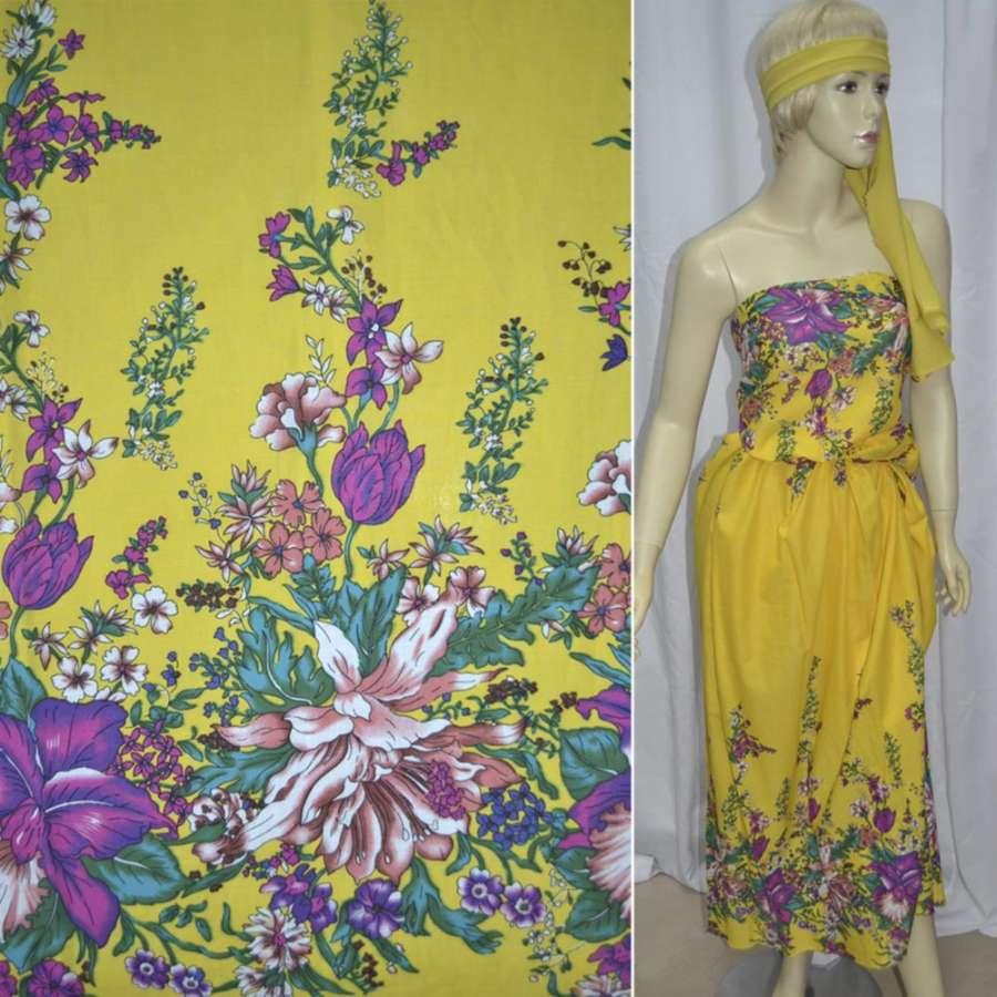 Батист жовтий, двосторонній купон різнокольорові квіти ш.140