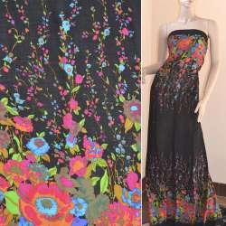 Батист черный,двухсторонний купон малиново-синие цветы ш.140