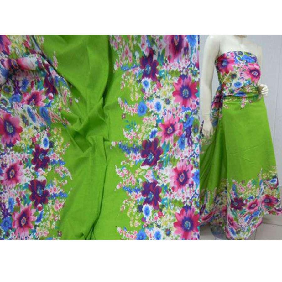 Батист зеленый,двухсторонний купон цветы ш.140