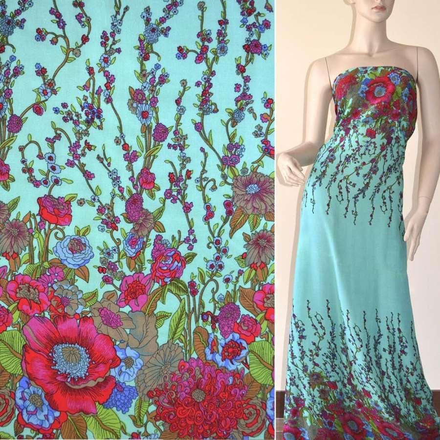 Батист светло зеленый с двухсторонним бордово синим купоном цветы ш.140