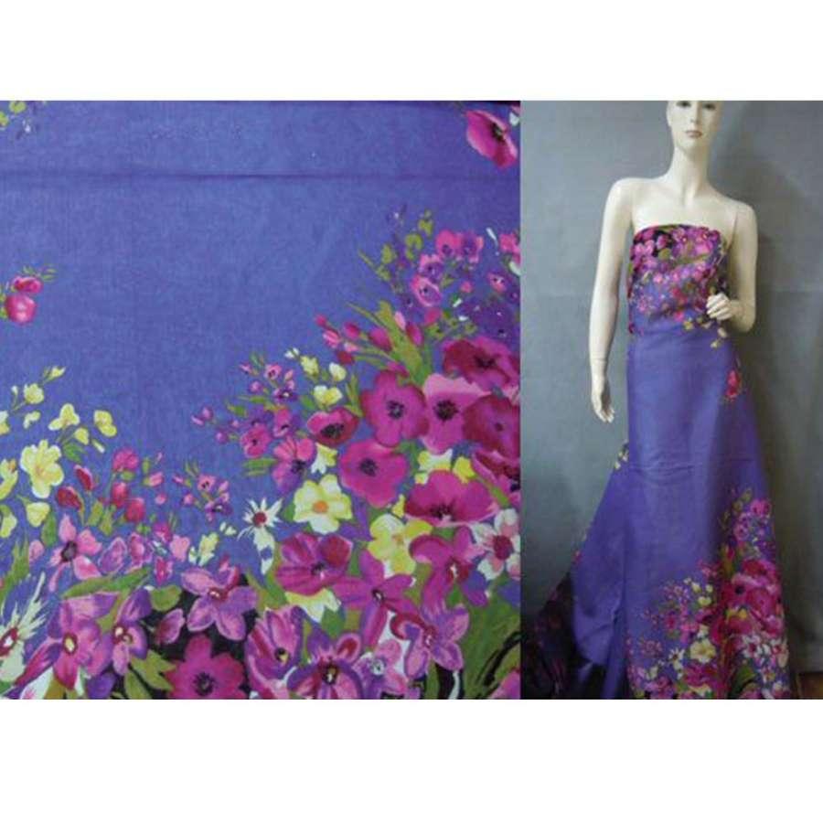 Батист светло фиолетовый,двухсторонний купон молочно бордовые цветы ш.140