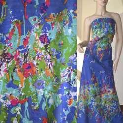 Батист синий светлый, двухсторонний купон бирюзово-зеленые цветы ш.140
