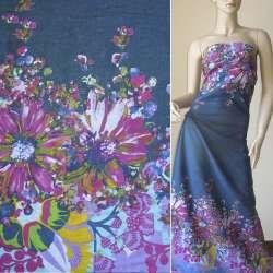 Батист синий, двухсторонний купон большие малиновые голубые цветыш.140