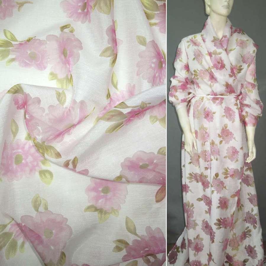 Батист белый с розовыми цветами из органзы деворе ш.150