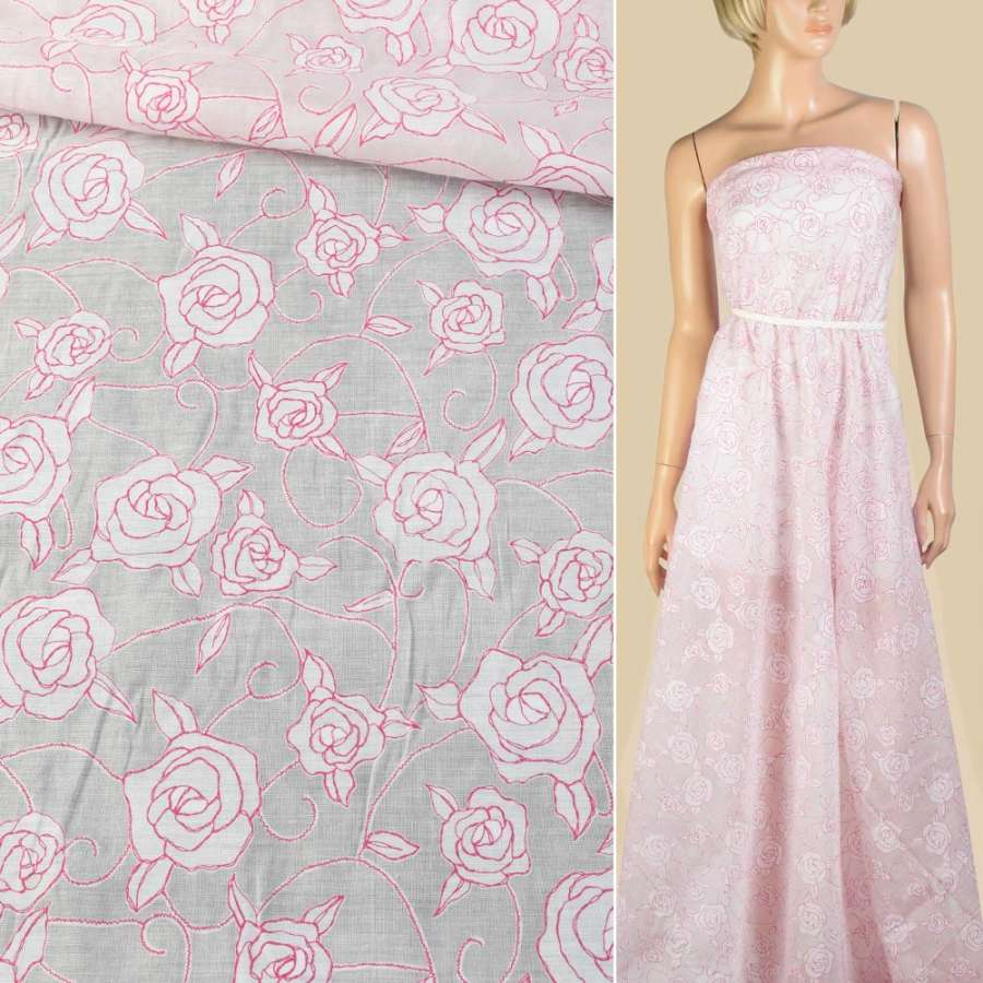 Батист с органзой белый с розовыми розами ш.145