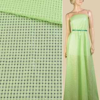 Батист зелений дрібні квадрати ш.140