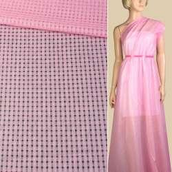 Батист розовый мелкие квадраты ш.140
