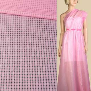 Батист рожевий дрібні квадрати ш.140