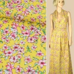 Батист желтый в бело-розовые цветы, ш.140