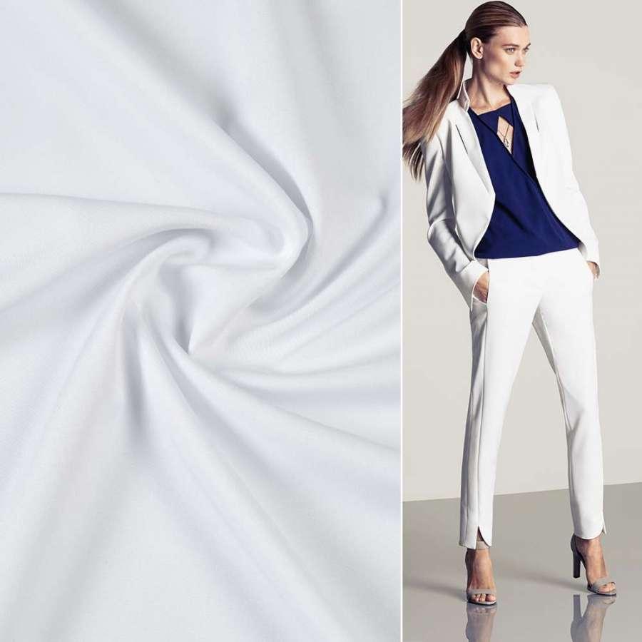 Ткань костюмная бистрейч белая ш.150