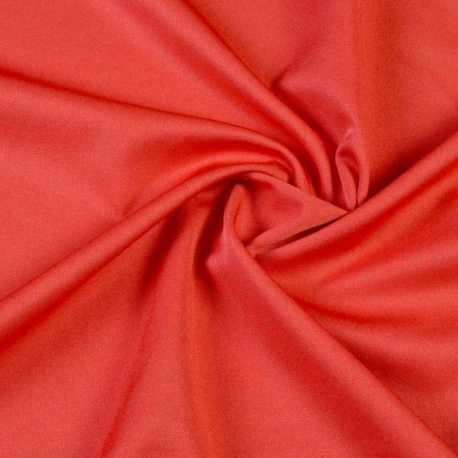 Ткань костюмная бистрейч красно-оранжевая ш.150