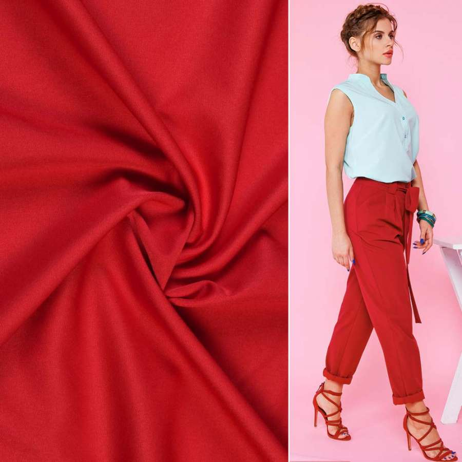 Ткань костюмная бистрейч красная ш.150