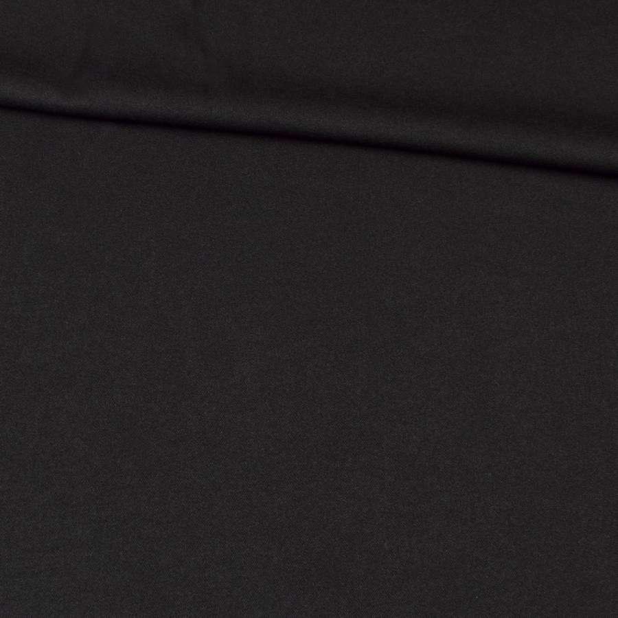 Ткань костюмная бистрейч черная (изнанка твил) ш.150