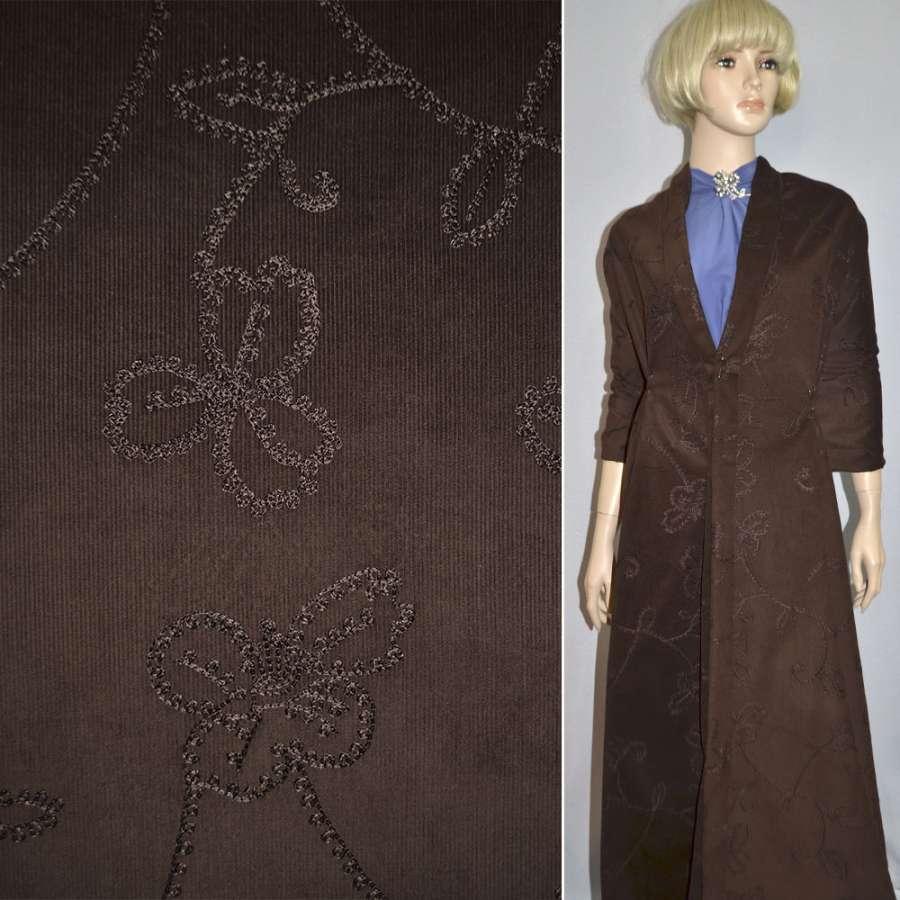 М/вельвет темно-коричневый, вышитый шелковой нитью, ш.145