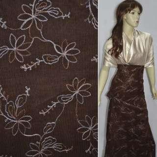 Вельвет  коричневый  с  бежевой  вышивкой