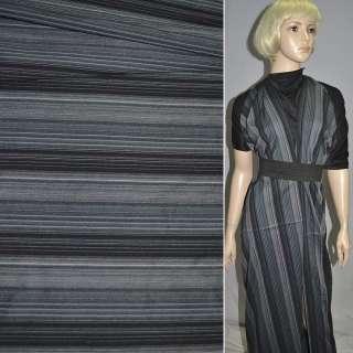 Ткань костюмная стрейч черно-синяя в полоску