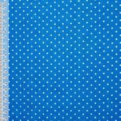 Мікровельвет синьо-блакитний в білий горошок ш.110