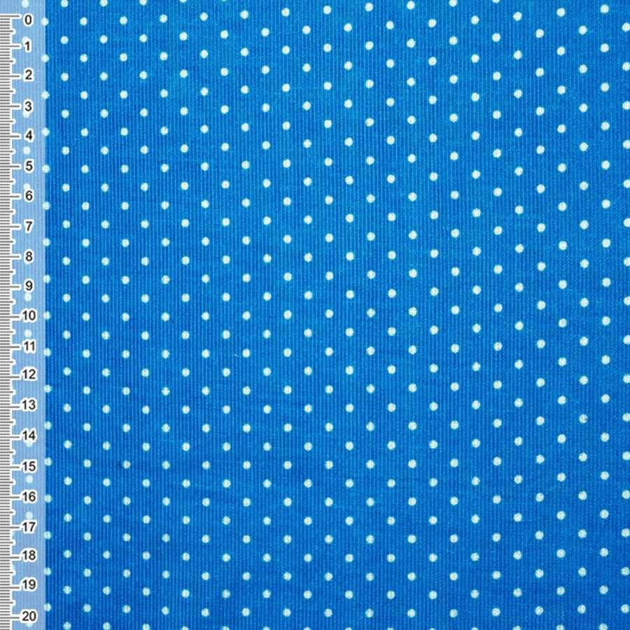 М/вельвет сине-голубой в белый горошек ш.110