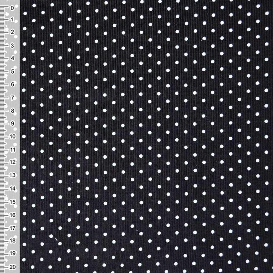 М/вельвет черный в белый горошек ш.110