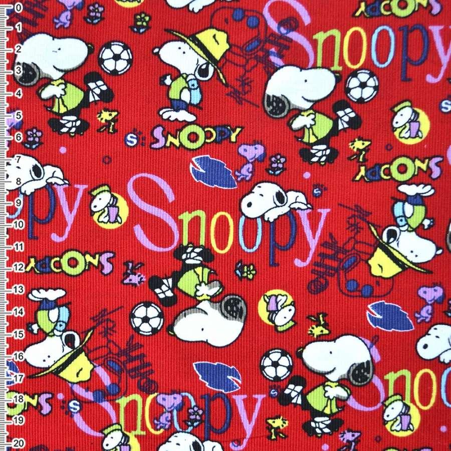 """м/вельвет красный """"Snoopy"""" ш.110 см."""