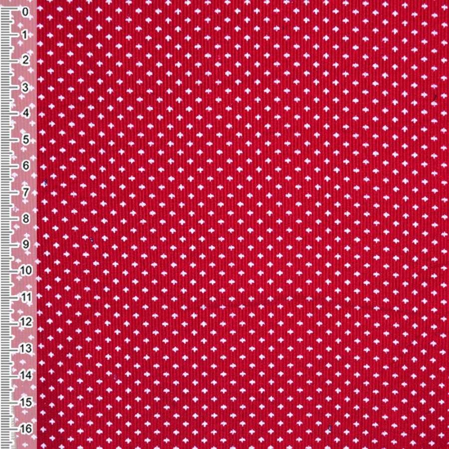М/вельвет красный с белыми птичками ш.110