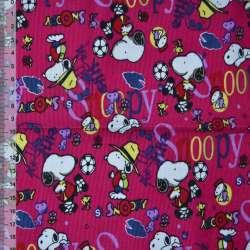 Мікровельвет малиновий Snoopy ш.110