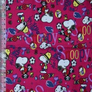"""м/вельвет малиновый """"Snoopy"""" ш.110 см."""