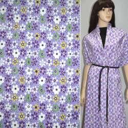 Мікровельвет фіолетовий світлий з білими квітами ш.110