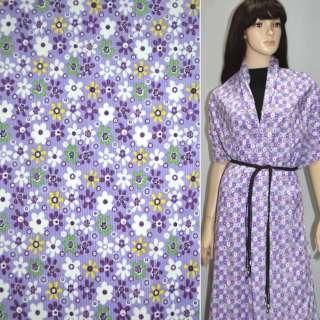 м/вельвет св./фиолетовый с белыми цветами ш.110
