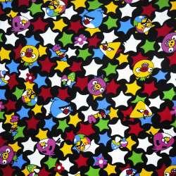 Мікровельвет чорний Аngry Birds і зірки ш.105