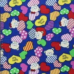 Мікровельвет синій (ультра) c сердцями і ведмедиками Happy Bear ш.112