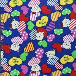 """М/вельвет синий (ультра) c cердцами и мишками """"Happy Bear""""  ш.112"""