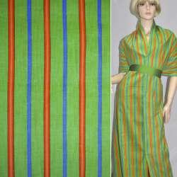 Мікровельвет зелений в помаранчеву і синю смужку, ш.112
