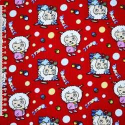 Мікровельвет червоний дівчинки з ріжками ш.110