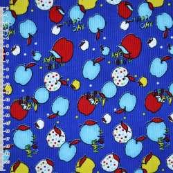Мікровельвет синій з різнокольоровими яблуками Happy day ш.110