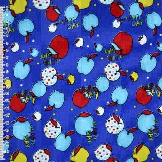 """М/вельвет синий с разноцвет. яблоками  """"Happy day"""" ш.1"""
