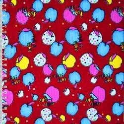 Мікровельвет червоний з різнокольоровими яблуками Happy day ш.110