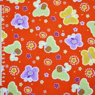 м/вельвет оранжевый с разноцвет.бабочками ш.110
