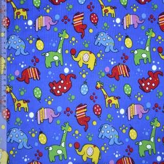 Мікровельвет синій (ультра) з жирафами і слониками ш.110