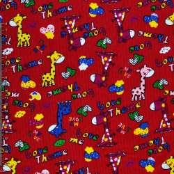 Мікровельвет червоний c жирафами Love Theme ш.112