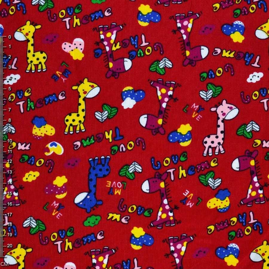 """М/вельвет красный c жирафами """"Love Theme""""  ш.112"""