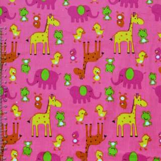 Мікровельвет рожевий з жовтими жирафами і каченятами ш.110