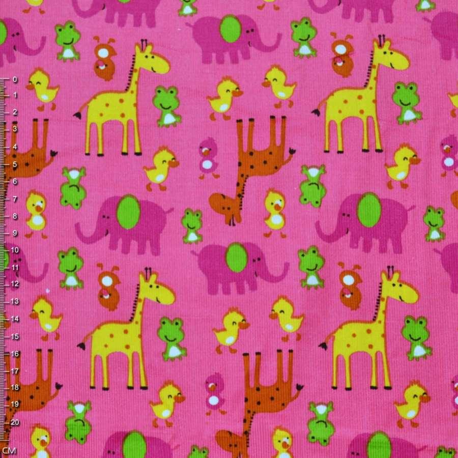 М/вельвет розовый с желтыми жирафами и утятами  ш.110