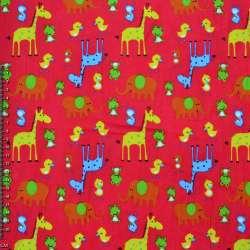 Мікровельвет яскраво-червоний з жовтими жирафами і каченятами ш.112