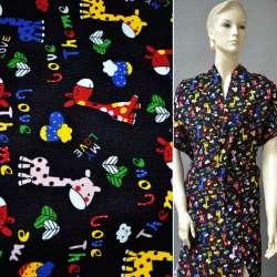 Мікровельвет чорний c жирафами Love Theme ш.110