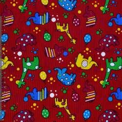 Мікровельвет червоний з жирафами і слониками ш.112