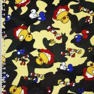 Мікровельвет жовтий світлий камуфляж з каченятами Friends ш.112